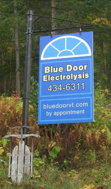 Blue Door Electrolysis Sign